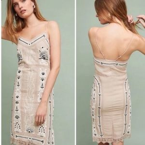 Anthropologie maeve Embroidered Slip Dress